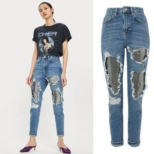 Topshop Moto Mom Distressed Chainmail Ripped Jeans